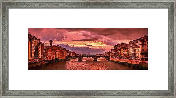 Saint Trinity Bridge From Ponte Vecchio At Red Sunset In Florence, Italy Framed Print