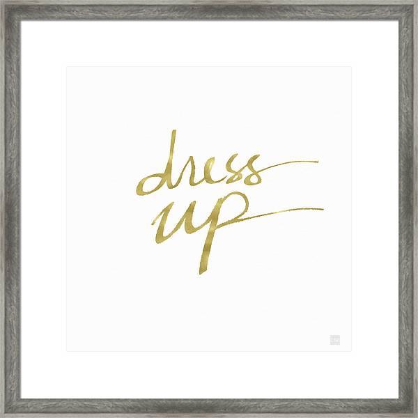 Dress Up Gold- Art By Linda Woods Framed Print
