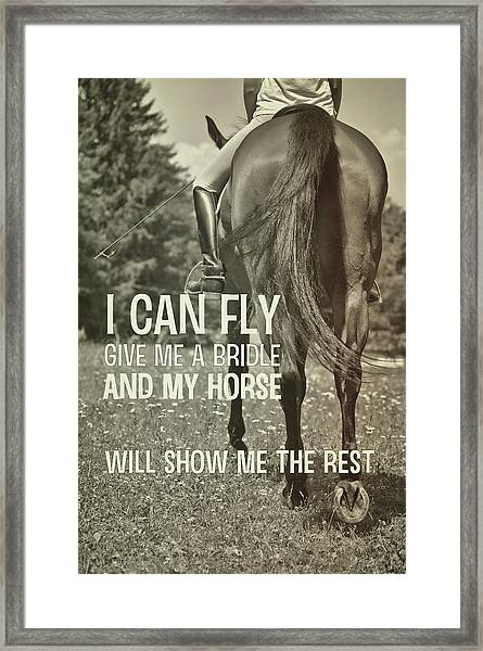 Dressage In The Daisies Quote Framed Print