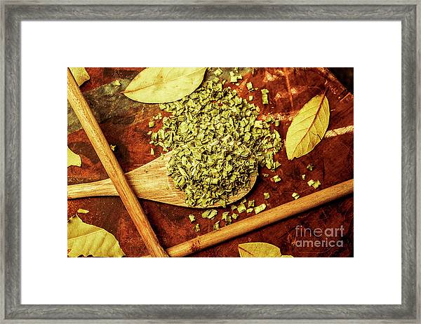 Dried Chives In Wooden Spoon Framed Print