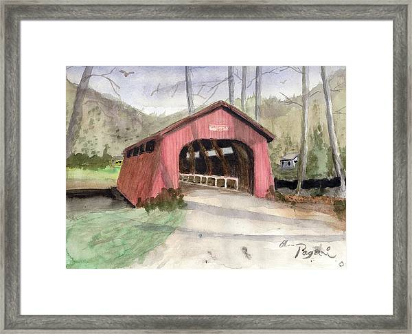 Drift Creek Covered Bridge Watercolor Framed Print