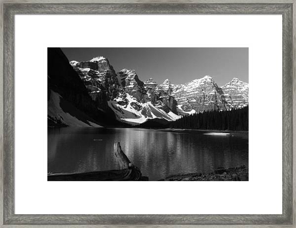 Drift Wod On Lake Moraine Framed Print