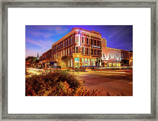 Driving Through Downtown - Bentonville Arkansas Town Square Framed Print