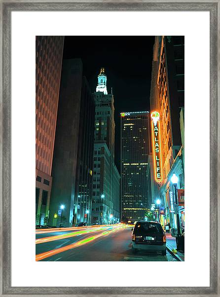 Driving Through Downtown Tulsa  Framed Print