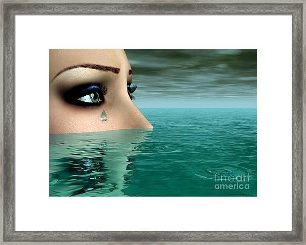 Framed Print featuring the digital art Drowning In A Sea Of Tears by Sandra Bauser Digital Art