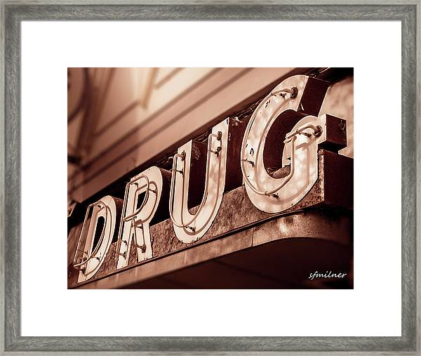 Drug Store Sign - Vintage Downtown Pharmacy Framed Print
