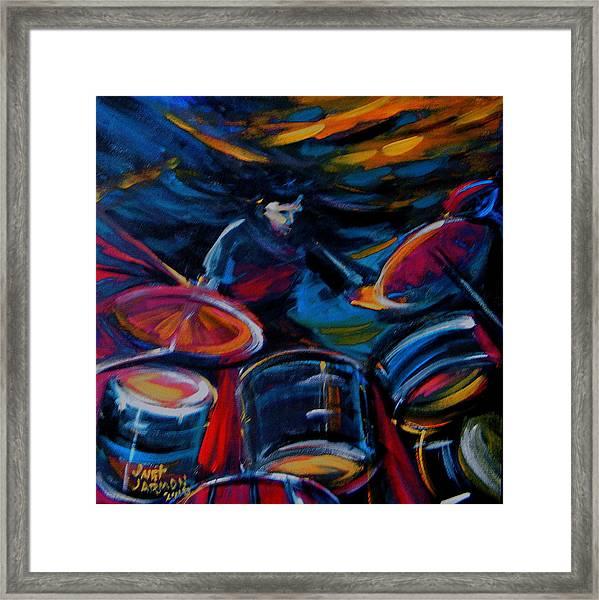 Drummer Craze Framed Print