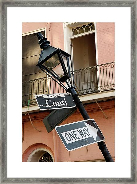 Drunk Street Sign French Quarter Framed Print