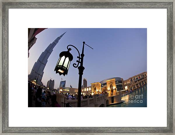 Framed Print featuring the photograph Dubai Burj Khalifa by Juergen Held