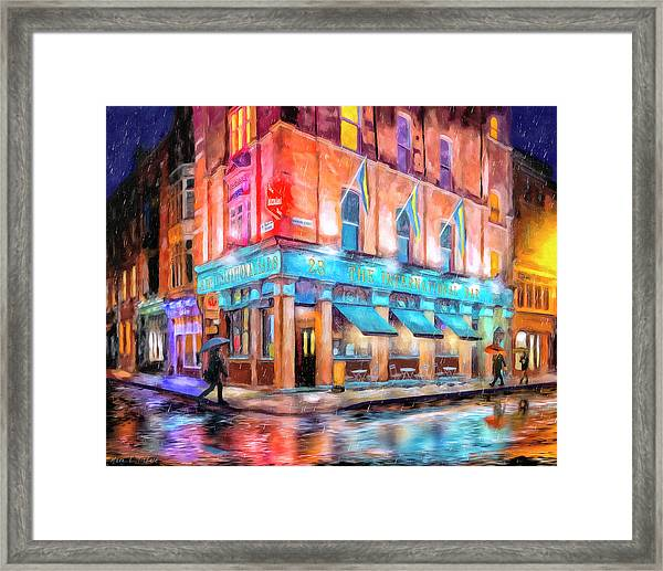 Dublin In The Rain Framed Print