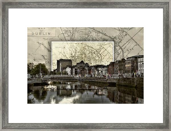Dublin Skyline Mapped Framed Print
