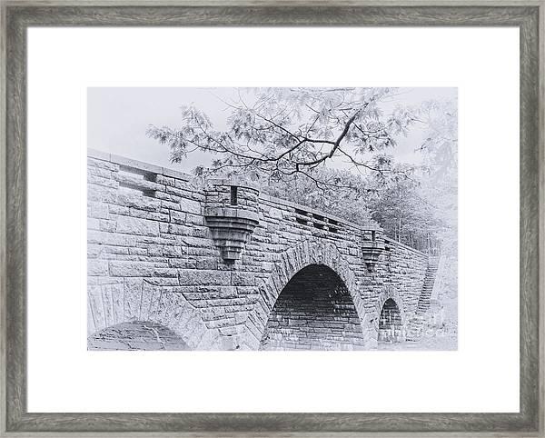 Duck Brook Bridge In Black And White Framed Print
