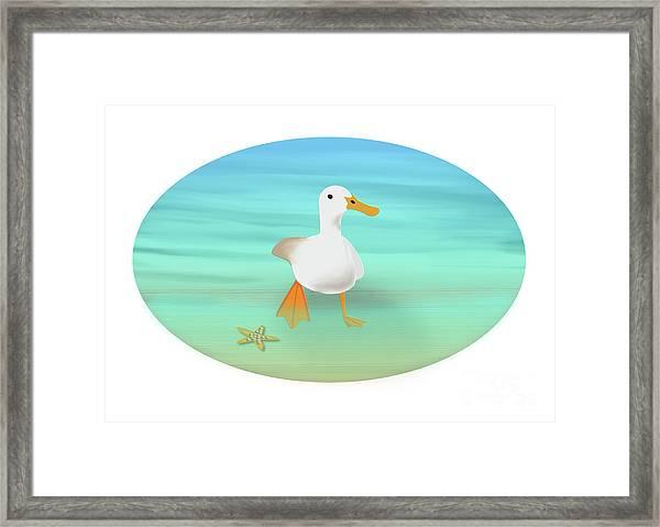 Duck Paddling At The Seaside Framed Print