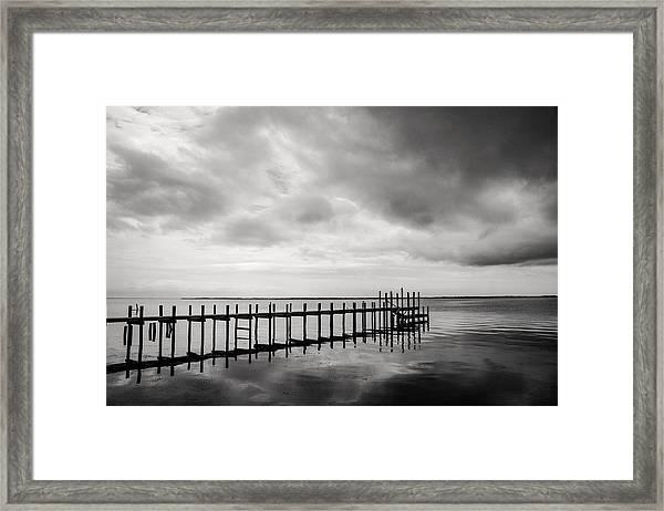 Duck Pier In Black And White Framed Print
