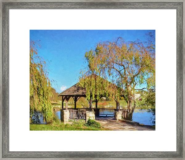 Duck Pond Gazebo At Virginia Tech Framed Print