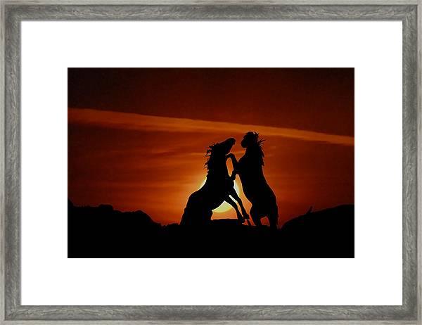 Duel At Sundown Framed Print