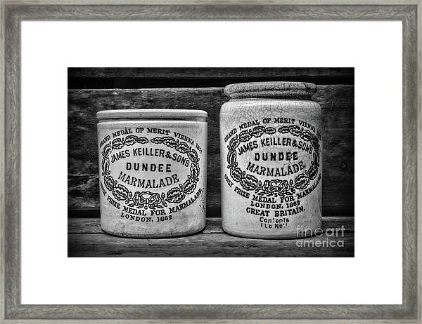 Dundee Marmalade Country Kitchen Black And White Framed Print