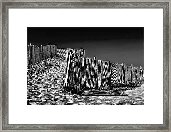 Dune Fence, Black And White Framed Print