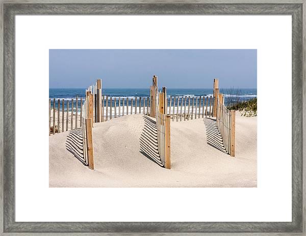 Dune Fence Landscape Framed Print