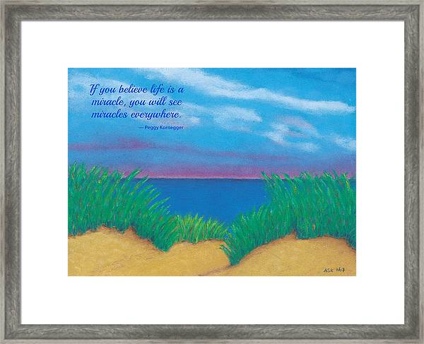 Dunes At Dawn - With Quote Framed Print