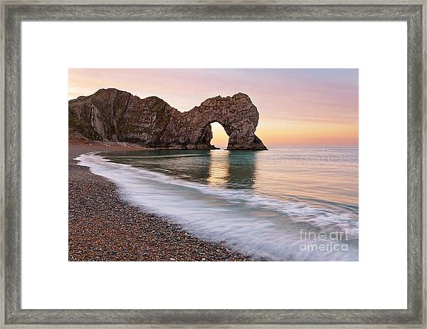Durdle Door First Light Framed Print by Richard Thomas