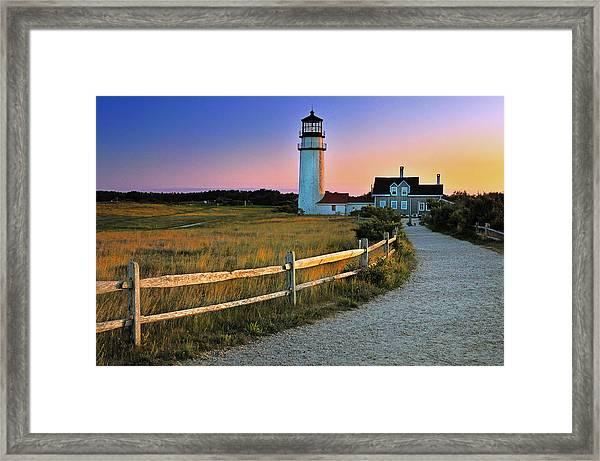 Dusk At Cape Cod Lighthouse Framed Print