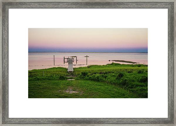 Dusk At Battle Point, Accomac, Virginia Framed Print