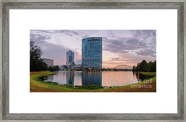 Dusk Panorama Of The Woodlands Waterway And Anadarko Petroleum Towers - The Woodlands Texas Framed Print