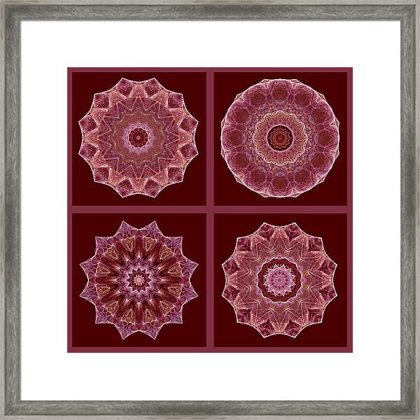 Dusty Rose Mandala Fractal Set Framed Print