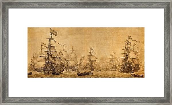 Dutch Battleships Willem Van De Velde 1672 On Parchment Framed Print