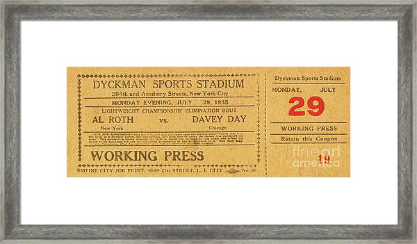Dyckman Oval Ticket Framed Print