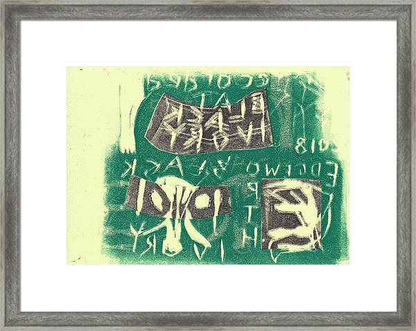 E Cd Grey And Green Framed Print