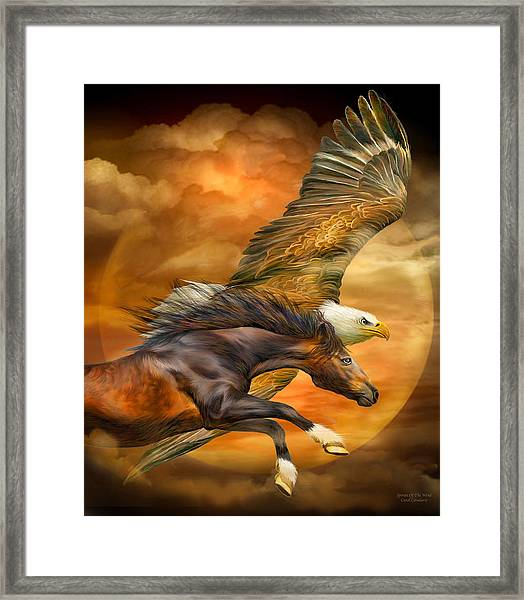 Eagle And Horse - Spirits Of The Wind Framed Print