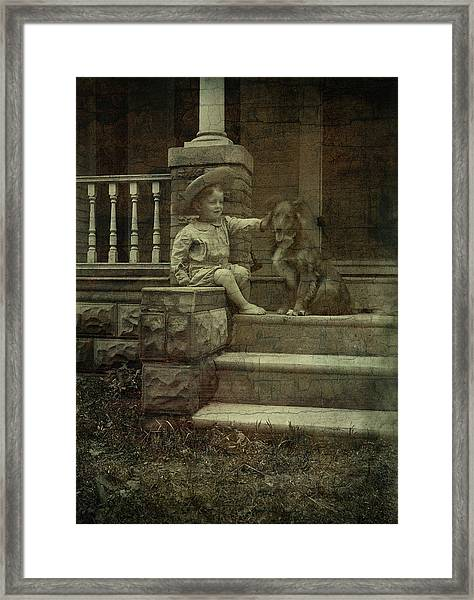 Ear Scratch And Straw Hat Framed Print