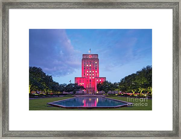 Early Dawn Architectural Photograph Of Houston City Hall And Hermann Square - Downtown Houston Texas Framed Print