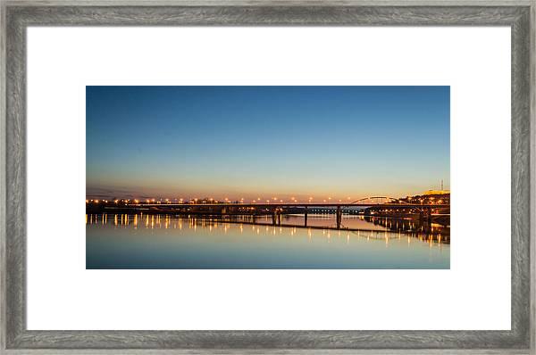 Early Evening Bridge At Sunset Framed Print