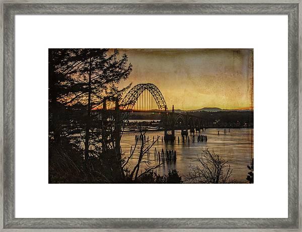 Early Morning At The Yaquina Bay Bridge  Framed Print