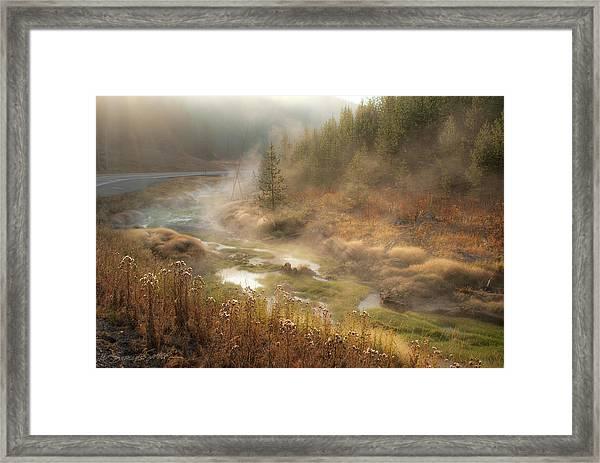 Early Morning Fog Yellowstone Np Framed Print