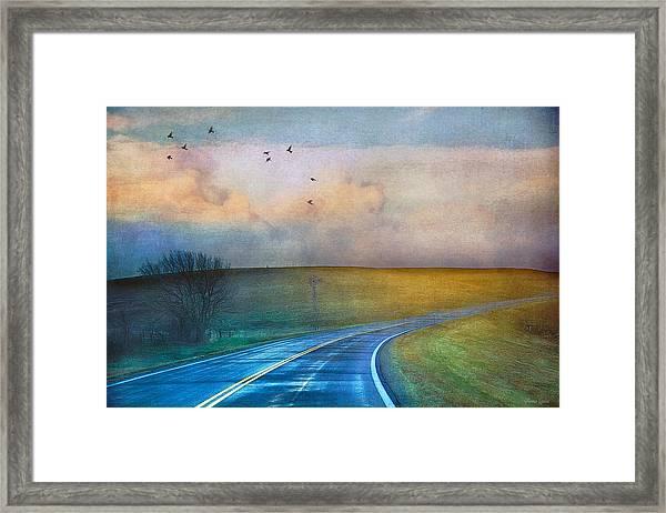 Early Morning Kansas Two-lane Highway Framed Print