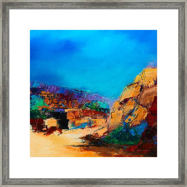 Framed Print featuring the painting Early Morning Over The Canyon by Elise Palmigiani