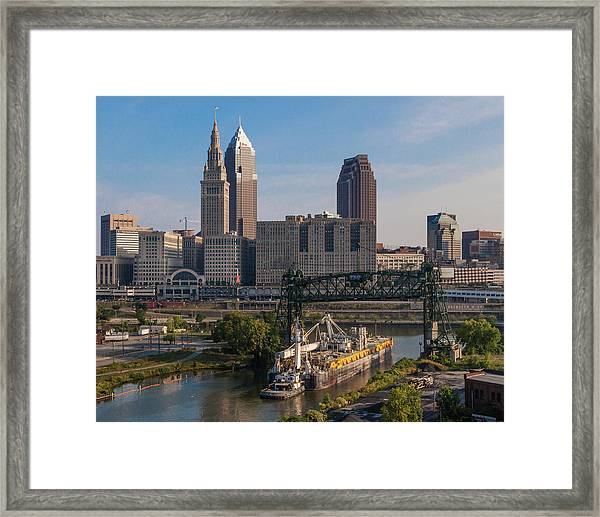 Early Morning Transport On The Cuyahoga River Framed Print