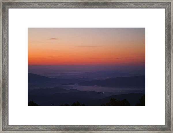 Early Morning Valley Fog Framed Print by Michael Whitaker