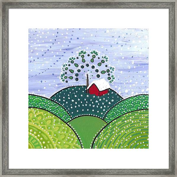 Early Snow On The Little Red Barn Framed Print