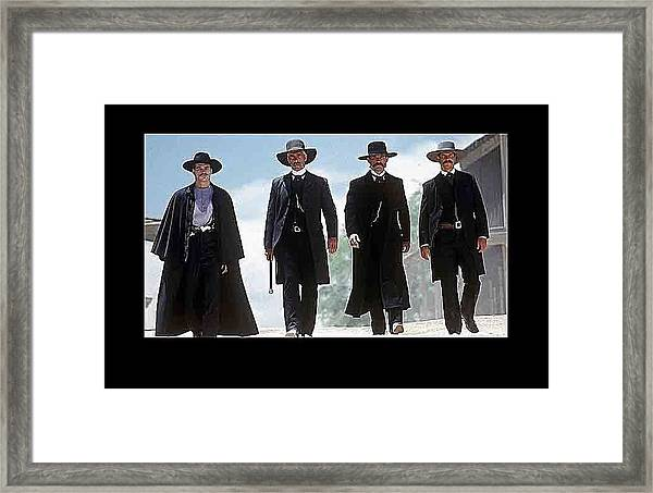 Earp Brothers And Doc Holliday Approaching O.k. Corral Tombstone Movie Mescal Az 1993-2015 Framed Print