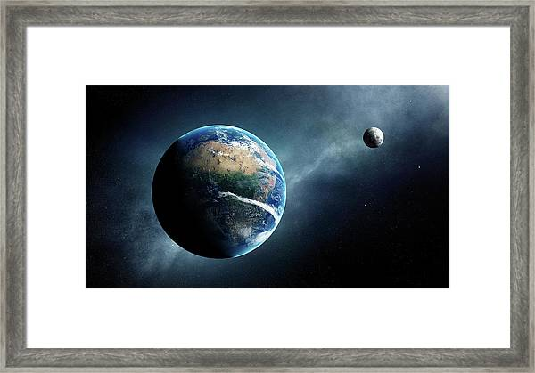 Earth And Moon Space View Framed Print