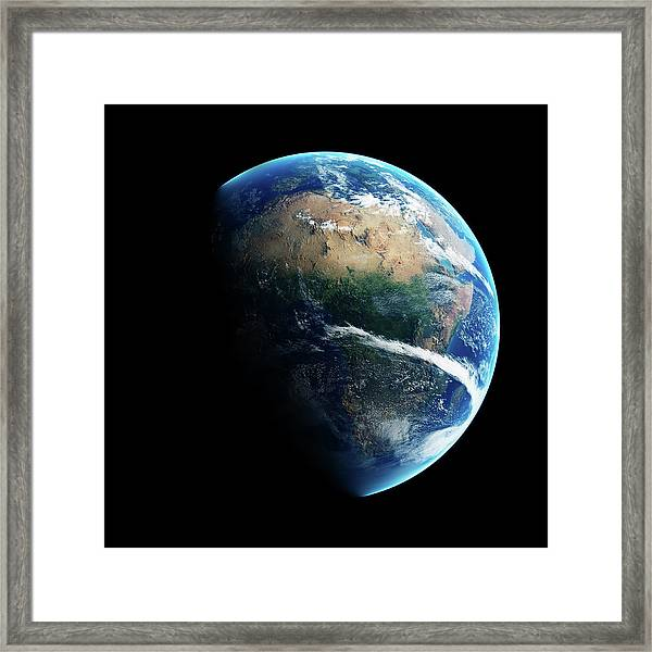 Earth Day And Night Space View Framed Print