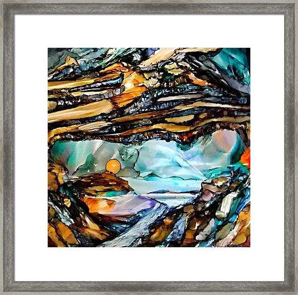 Earth Day Underground Paradise Alcohol Inks Framed Print