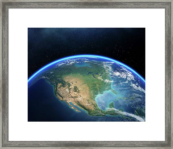 Earth From Space North America Framed Print