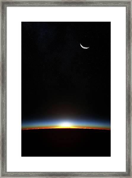 Earth Sunrise Through Atmoshere Framed Print