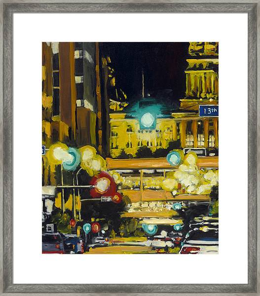 East 13th And Locust St Des Moines Framed Print